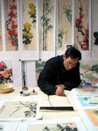 One of our wall scroll artists from Chengdu, in the Sichuan Province of China