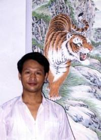 Asian Tiger Artist, Yin Yi-Qiu in his studio in Shandong Province of Northern China
