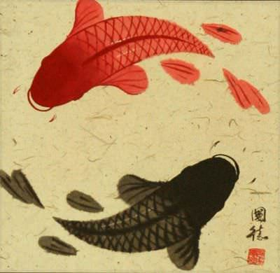 Classic Yin Yang Fish Silk Wall Scroll close up view