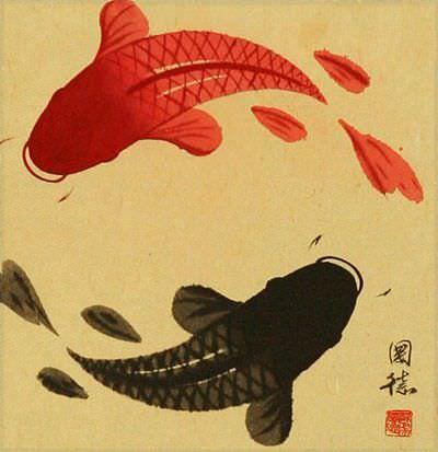 Antiqued Yin Yang Fish Silk Wall Scroll close up view