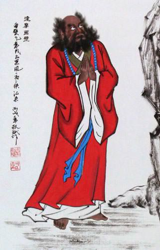 Damo Buddha Stares at the Wall - Wall Scroll close up view