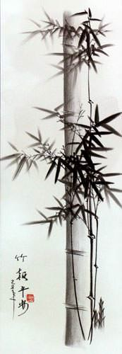 Charcoal Bamboo Wall Scroll close up view