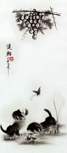 Charcoal Kittens Butterfly, Cricket & Grapes Wall Scroll close up view