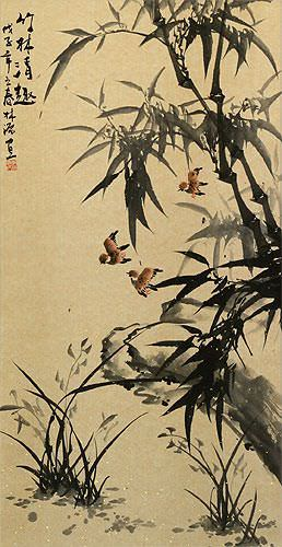 Chinese Black Ink Bamboo Wall Scroll close up view