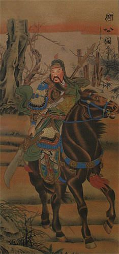 Warrior God Guan Gong on Horse - Partial-Print Wall Scroll close up view