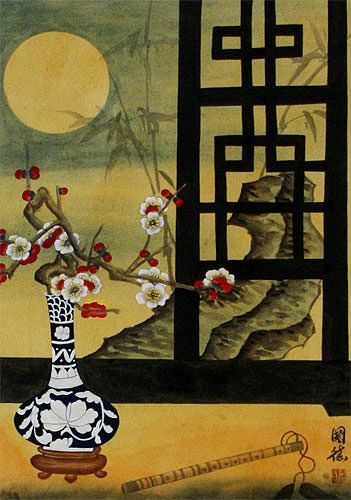 Asian Still Life Scene Wall Scroll close up view