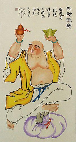 Happy Buddha Wall Scroll close up view
