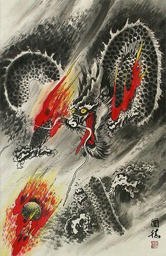 Flying Chinese Dragon Pearl of Lightning - Asian Wall Scroll close up view