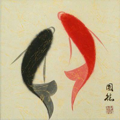 Abstract Yin Yang Fish Art Wall Scroll close up view
