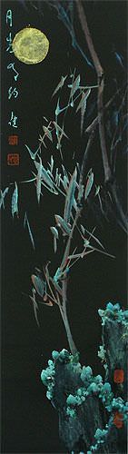 Abstract Bamboo Wall Scroll close up view