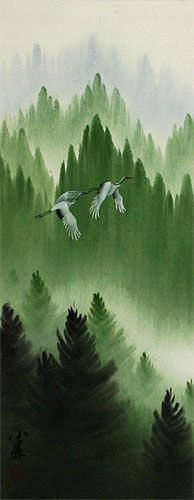 Companions Asian Cranes Landscape - Small Wall Scroll close up view