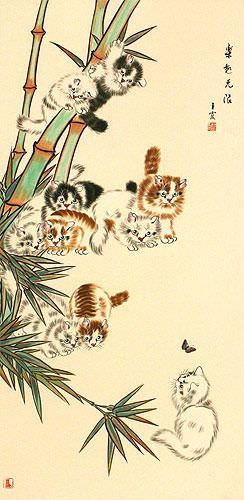 Ten Kittens in the Bamboo Wall Scroll close up view