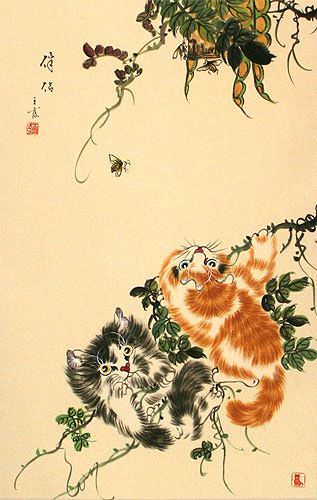Chinese Kittens Wall Scroll close up view
