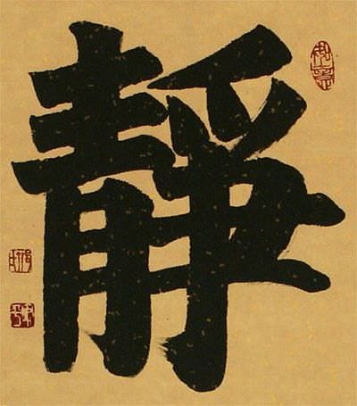 Serenity Chinese / Japanese Calligraphy Wall Scroll close up view