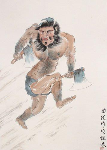 Ancient Chinese Warrior Li Kui - The Black Tornado - Wall Scroll close up view