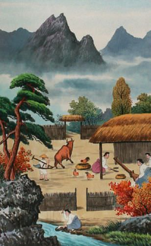 North Korean Harvest Time Wall Scroll close up view