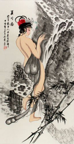 Summer Bamboo Semi-Nude Sexy Asian Woman Wall Scroll close up view