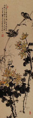 Birds and Chrysanthemum Flowers Wall Scroll close up view