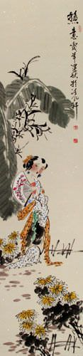 Hot Day - Young Chinese Girl - Wall Scroll close up view