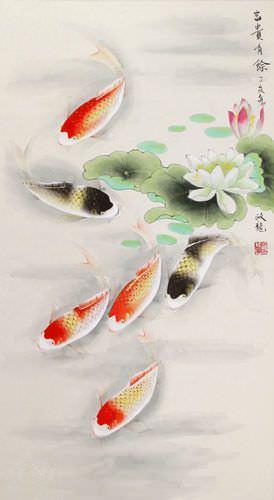 Japanese Koi Fish and Lotus - Silk Wall Scroll close up view