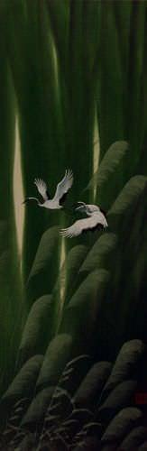 Summer Asian Cranes Landscape Wall Scroll close up view