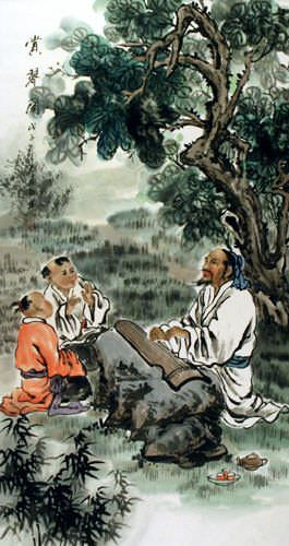 Enjoying the Chinese Zither Music - Wall Scroll close up view