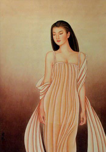 Beautiful Woman - Contemporary Chinese Art Wall Scroll close up view