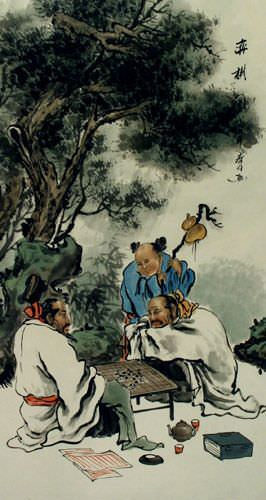 Chinese Weiqi Chess - Ancient Style Wall Scroll close up view