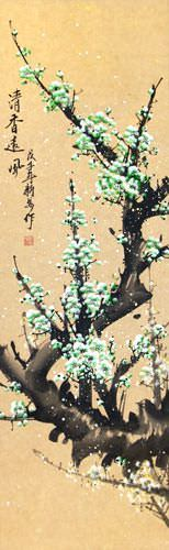 Colorful Green Plum Blossom Wall Scroll close up view