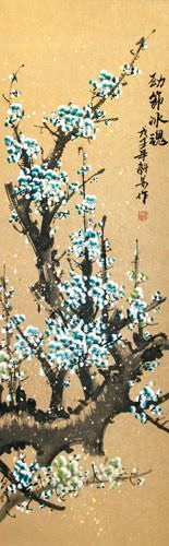 Colorful Blue Plum Blossom Wall Scroll close up view