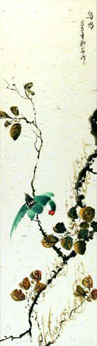 Bird Song - Chinese Wall Scroll close up view