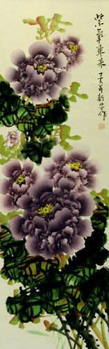 Purple Peony Flower Wall Scroll close up view
