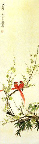 Double Longevity - Bird and Flower Wall Scroll close up view