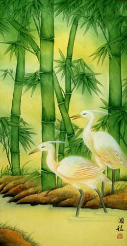Big Cranes and Green Bamboo Wall Scroll close up view