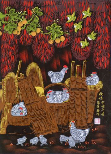 "See how ""Autumn Feeling - Chickens Folk Art Painting"" would look after being professionally framed"
