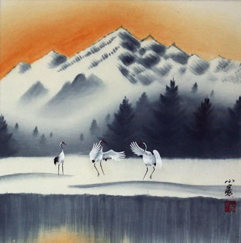 "See how ""Tian Mountain Snowscape Painting"" would look after being professionally framed"