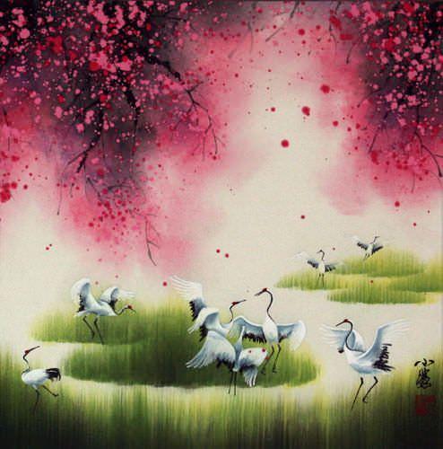 Four Seasons Cranes Watercolor Painting