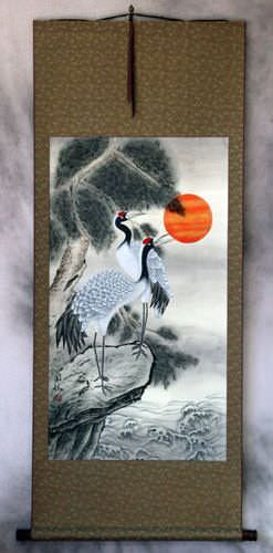 Antique-Style Cranes Wall Scroll