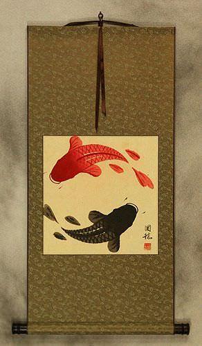 Antiqued Yin Yang Fish Silk Wall Scroll