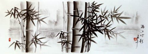 Charcoal Bamboo Landscape Drawing
