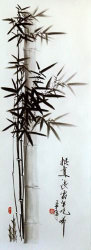 Black & White Bamboo Portrait - This charcoal chinese bamboo portrait is typical of the skill and talent of Mr. Wang's Chinese Folk Art