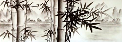 Charcoal Bamboo Landscape Art