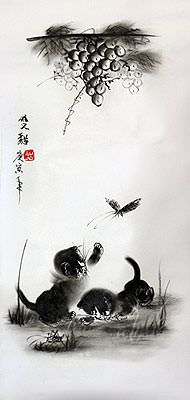 Curious Kittens Last Moment of Innocence Charcoal Art