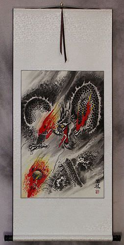 Flying Chinese Dragon Pearl of Lightning - Asian Wall Scroll