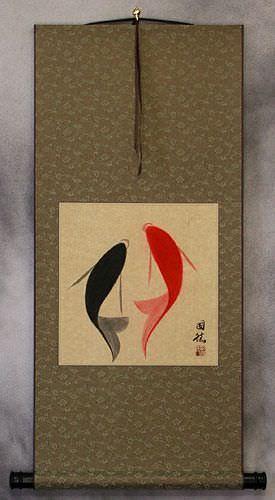 Yin Yang Fish - Abstract Asian Art Wall Scroll