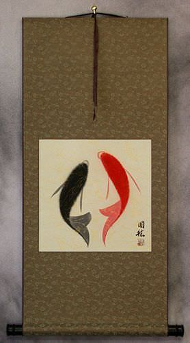 Abstract Yin Yang Fish Wall Scroll
