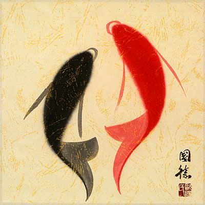 "See how ""Abstract Yin Yang Fish Painting"" would look after being professionally framed"