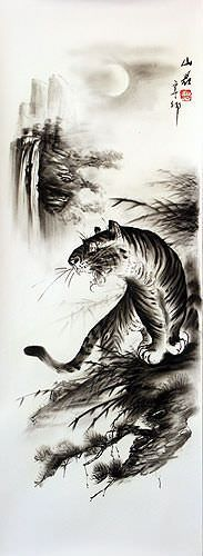 Black & White Roaring Tiger Drawing