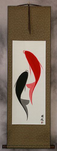 Chinese Abstract Yin Yang Fish Wall Scroll