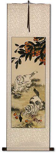 Chinese Kittens Wall Scroll